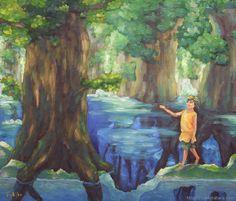 """『大樹の守』北原 千 """"The Guardian of Forest"""" By Sen Kitahara, 油彩, art, oil"""