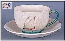 Moorcroft Cup And Saucer, Yacht pattern, circa