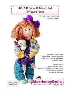 Cloth doll pattern  14 inch cloth rag doll sewing  Tasha PDF