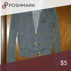 Trendy forever 21 jacket Jacket is lightweight, Greg with roll up cuffs, big buttons size small. Cute with dress or jeans. Forever 21 Jackets & Coats Jean Jackets