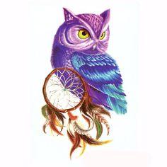 Owl temporary tattoo Dream catcher tattoo Colorful Owl