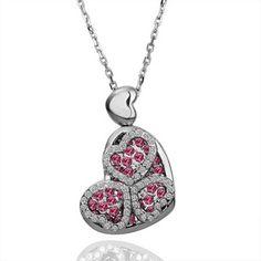 White Gold Plated Dark Pink Swarovski Elements Heart Necklace