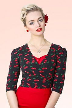 Collectif Clothing Cherry Wrap Top 140 14 13227 20140512
