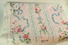 """5 Yards of Pink and Blue Striped Floral """"Lisette"""" Chintz Fabric by Cyrus Clark Co. Inc"""