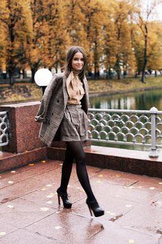 "The perfect Fall attire via DustjacketAttic :: ""Miroslava Duma... pictured wearing a suit and blouse by Salvatore Ferragamo, Alaia heels and Hermès bag"""