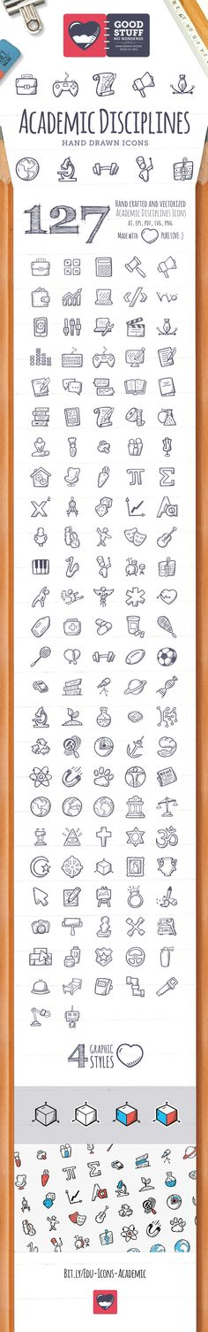 127 hand drawn, vector and colored icons. I've spent on this particular icon set the greatest amount of time so far. …