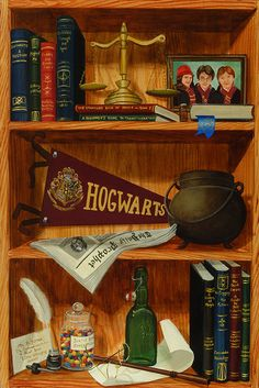"""Harry Potter's Bookshelf."" by Jane McElvany Coonce. I love it--but Harry wouldn't have Hogwarts, A History. Hermione would. :)"