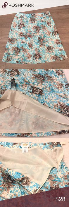 """❣BOGO 1/2 off❣🆕Talbots blue floral silk skirt 16 Flawless/like-new condition. Silk blend. Has some stretch. Side zip. Fully lined. Pretty colors of blue, true white, & browns. Hits just below the knee. Size 16. Measures 26"""" long & 35"""" waist. ❣Ask me how to BOGO HALF price! ✖️I do NOT MODEL✖️ 🔴Bundle to save! 🔴NO TRADES. 🔴REASONABLE offers welcome via offer button. Talbots Skirts A-Line or Full"""