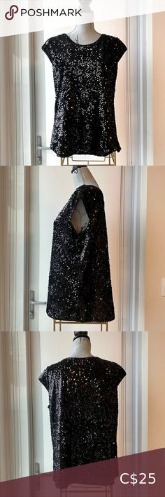 🖤 Cap Sleeve Black Sequin Top Excellent condition with no stains or damage Size large Crew neck Cap sleeve Fully lined and light weight Gorgeous top ❤️😍 Mossimo Supply Co. Tops Black Sequin Top, Metallic Dress, Black Sequins, Tunic Tank Tops, Sequin Sweater, Gray Dress, Cap Sleeves, Crew Neck, Two Piece Skirt Set
