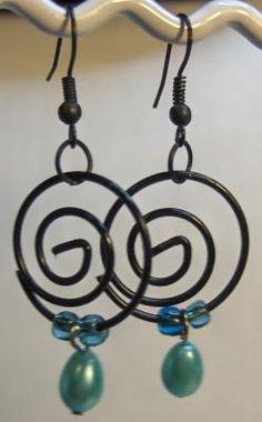 Crazy black/blue earrings