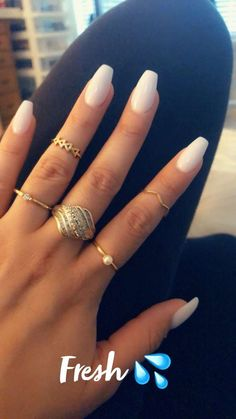 Soft White Coffin Nails Great ready to book your next manicure, because this nail in Perfect Nails, Gorgeous Nails, Pretty Nails, Cute Simple Nails, Simple Acrylic Nails, Acrylic Nail Designs, French Tip Acrylic Nails, Acrylic Nail Shapes, White Nail Designs
