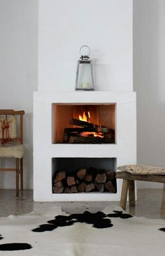 Very modern fireplace design.