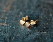 14k Gold Organic Dot Stud Earrings Recycled Eco Friendly Ethical Sweet Everyday Posts Handmade Jewelry