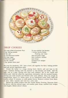 Vintage Recipes: 1964 Cakes, Cookies and Frostings Retro Recipes, Old Recipes, Vintage Recipes, Cookbook Recipes, 1950s Recipes, Homemade Cookbook, Cookbook Ideas, Cookie Desserts, Cookie Recipes