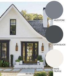 Modern Farmhouse Style Exterior Paint Colors The best modern farmhouse exterior paint colors for your home's exterior! Modern Farmhouse Style Exterior Paint Colors The best modern farmhouse exterior paint colors for your home's exterior! White Exterior Paint, White Exterior Houses, Exterior Paint Colors For House, Modern Farmhouse Exterior, Modern Farmhouse Style, Paint Colors For Home, Diy Exterior House Painting, House Siding Colors, Black Trim Exterior House