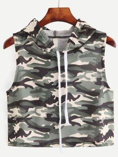 Camouflage Print Sleeveless Hooded Top — € -----------------color: Green size: one-size Cute Comfy Outfits, Sporty Outfits, Swag Outfits, Trendy Outfits, Summer Outfits, Girls Fashion Clothes, Teen Fashion Outfits, Outfits For Teens, Girl Outfits