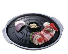 Korean Style Barbecue Grill ( Caldron Lid Grill ) - Korean Style Stove Top Barbecue Grill - Table Top BBQ Grill for utilization with electric gas, or propane stoves - Lower Plate can be loaded with water to trap drippings: Prevents smoke and splatters. - Good for BBQ, Steak, and Fish,.. - Made in Korea [ Description ] - Material : Cast Iron ( Xylan Plus Coating ) - Size (Diameter) : 11.8 in ( 30cm ) - Country of Origin : South Korea This BBQ barbecue plate(pan, Caldron top Grill, SotTuKung)…