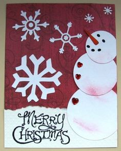 Snowman Punch Art Christmas Card