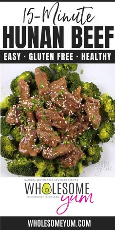 Hunan Beef Recipe in 15 Minutes (Paleo Low Carb Chinese Food) - This easy Hunan beef recipe takes less than 15 minutes to make! Naturally paleo, gluten-free, and low carb Chinese food that's full of flavor. #wholesomeyum #keto #lowcarb #dinner #beefrecipe #dinner Keto Veggie Recipes, Low Sugar Recipes, Low Carb Dinner Recipes, Bacon Recipes, Real Food Recipes, Cooking Recipes, Healthy Recipes, Beef Recipe Video, Low Carb Chinese Food