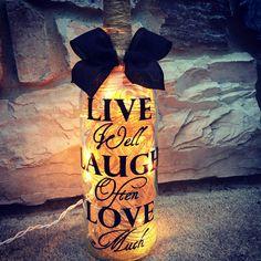 Love Laugh Love wine bottle light