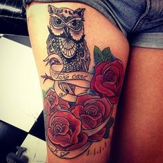 Thigh Colorful Rose Tattoo Tattoo for Girls