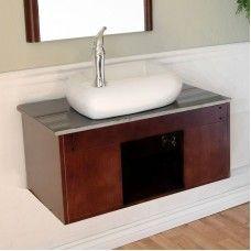 Bath> Vanities: 32.5 in Single sink vanity-Wood-walnut