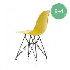 Eames DSR stoel met zwart gepoedercoat onderstel kleuren mosterd, mauve en oceaanblauw @ www.flinders.nl 5+1 ad €255