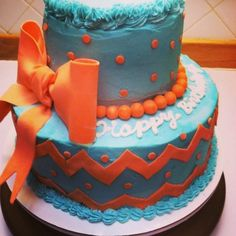 Chevron Birthday Cake. (Teal and Coral)