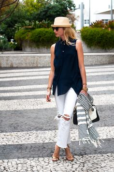 Wear your skinnies with a black tank and a striped scarf for a casual chic look!  Add some camel sandals!
