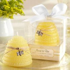 """""""Meant to Bee"""" Honey-Scented Beehive Candle (Set of - Wedding Favors Candles - Candle Wedding Favors Candle Wedding Favors, Candle Favors, Unique Wedding Favors, Bridal Shower Favors, Wedding Ideas, Party Favors, Wedding Gifts, Wedding Inspiration, Wedding Themes"""