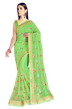 9a858db96fc Parrot Green Colored Embroidered Net Saree With Blouse Blouse Online