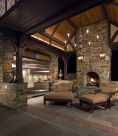 Rustic Patio and Outdoor Kitchen with Fireplace