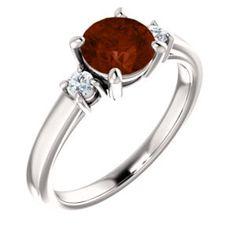 14kt White 6.5mm Round Mozambique Garnet & 1/8 CTW Diamond Ring
