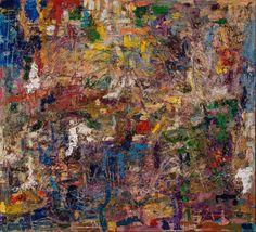 Figurative Landschaft 1999 Öl auf Leinwand 100 cm  x 110 cm Druck   // Michaela Helfrich Galerie