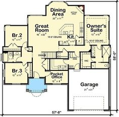 Plan 42358DB: Southern House Plan With Pocket Office