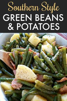 Southern Style Green Beans & Potatoes - Fresh green beans and potatoes cooked low and slow the Southern way with bacon and onion - recipe includes both stove-top and crock pot instructions. Fresh Green Bean Recipes, Cooking Fresh Green Beans, Green Beans With Bacon, Green Beans And New Potatoes Recipe, Cooking Greens, Recipe For Green Beans, Baked Green Beans, Rice And Beans Recipe, Salads