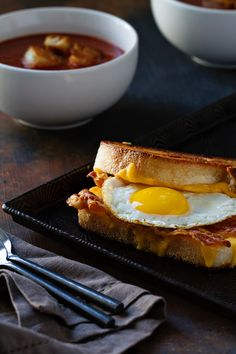 Grilled Cheese with Bacon and Egg from MyBakingAddiction.com