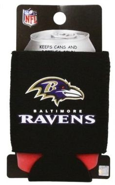"""BALTIMORE RAVENS NFL CAN KADDY KOOZIE COOZIE COOLER by Kolder. $2.52. PRODUCT DESCRIPTION: Kolder Kaddy TM - Kolder's collapsible can insulator is made from 3 mm neoprene """"wetsuit"""" rubber. The Kolder Kaddy fits 12-ounce cans, folds flat to fit in pockets or purses, and is a great beverage insulator to have with you when attending a concert or sporting event. *Fits both cans & bottles *MSRP $5.99"""