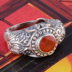 RED ONYX 925 STERLING SILVER VINTAGE RING 11.03g DJR3066 SIZE-8 #Handmade #Ring