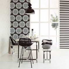 Like a bit of black with your white? Try adding it with wallpaper like this stylised botanic print and horizontal stripe, from the Bloom wallpaper collection available from Resene ColorShops. #Resene #ReseneWhite
