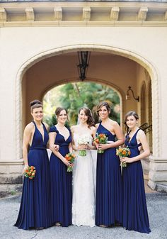 Navy Blue two birds bridesmaid dresses | photos by Jessica Loren | 100 Layer Cake