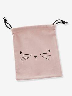 Bolsita para la merienda estampado gato - Rosa Claro Liso Con Adorno - 1