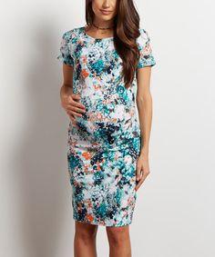 Aqua Floral Maternity Sheath Dress
