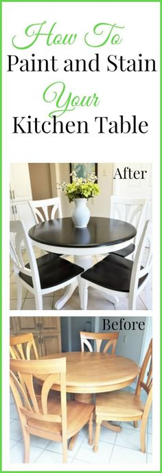 Check out how I used Java gel stain and Benjamin Moore Simply White to update my pedestal table. How to use paint and stain to change the look of a pedestal kitchen table. I used Jave Gel stain and Benjamin Moore paint in simply white. Refinishing Kitchen Tables, Painted Kitchen Tables, Kitchen Table Makeover, Kitchen Paint, Painting Kitchen Chairs, Diy Kitchen Tables, Painted Tables, Wood Tables, Kitchen Taps