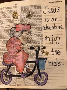 Jesus is an adventure. Enjoy the ride. #biblejournaling Bible Journaling For Beginners, Bible Study Journal, Journal Art, Scripture Art, Bible Art, Scripture Reading, Bible Prayers, Bible Scriptures, Faith Crafts