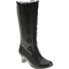 This retro influenced leather boot shows off features associated with the styles from a time gone by. From the use of leather cuts, patterns and lace to the use of floral shaped buttons this boot brings it all. A full length side zipper allows for easy on and off.
