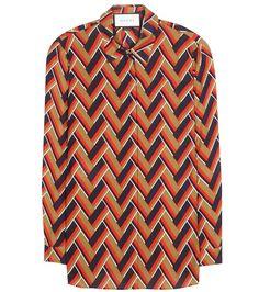 GUCCI Printed Silk And Wool-Blend Shirt. #gucci #cloth #tops