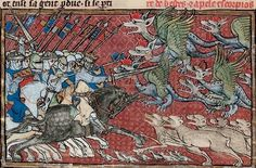 Alexander battling beasts and dragons. 15th century
