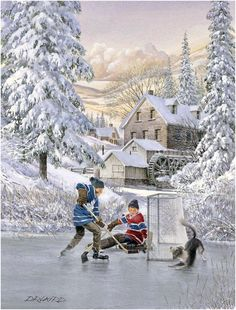 Genuine Real Hand Painted Winter Community Children Play Hockey Canvas Oil Painting for Home Wall Art Decoration, Not a Print/ Giclee/ Poster Winter Images, Winter Pictures, Christmas Pictures, Winter Painting, Oil Painting On Canvas, House Painting, Christmas Scenes, Christmas Art, Hockey Pictures