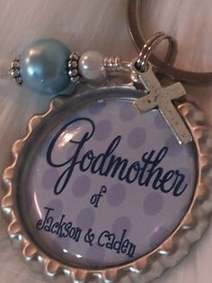 Godmother keychain, Godmother Gift, Personalized Christening gift, Godparent gift, Baptism Gift. $10.00, via Etsy. Personalised Christening Gifts, Godparent Gifts, Personalized Ribbon, Godchild, Baptism Gifts, Baptism Ideas, Baby Baptism, Baptism Party, Cute Gifts